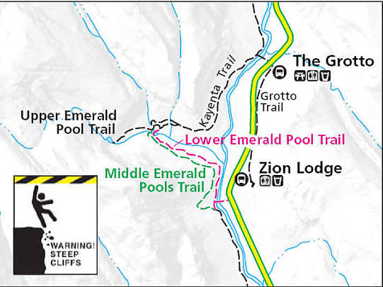 Mapa Emerald Pools Trails. Fonte: Zion National Park