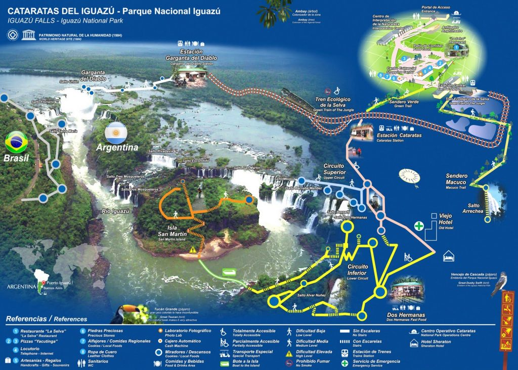 Mapa Parque BNacional Iguazú Argentina