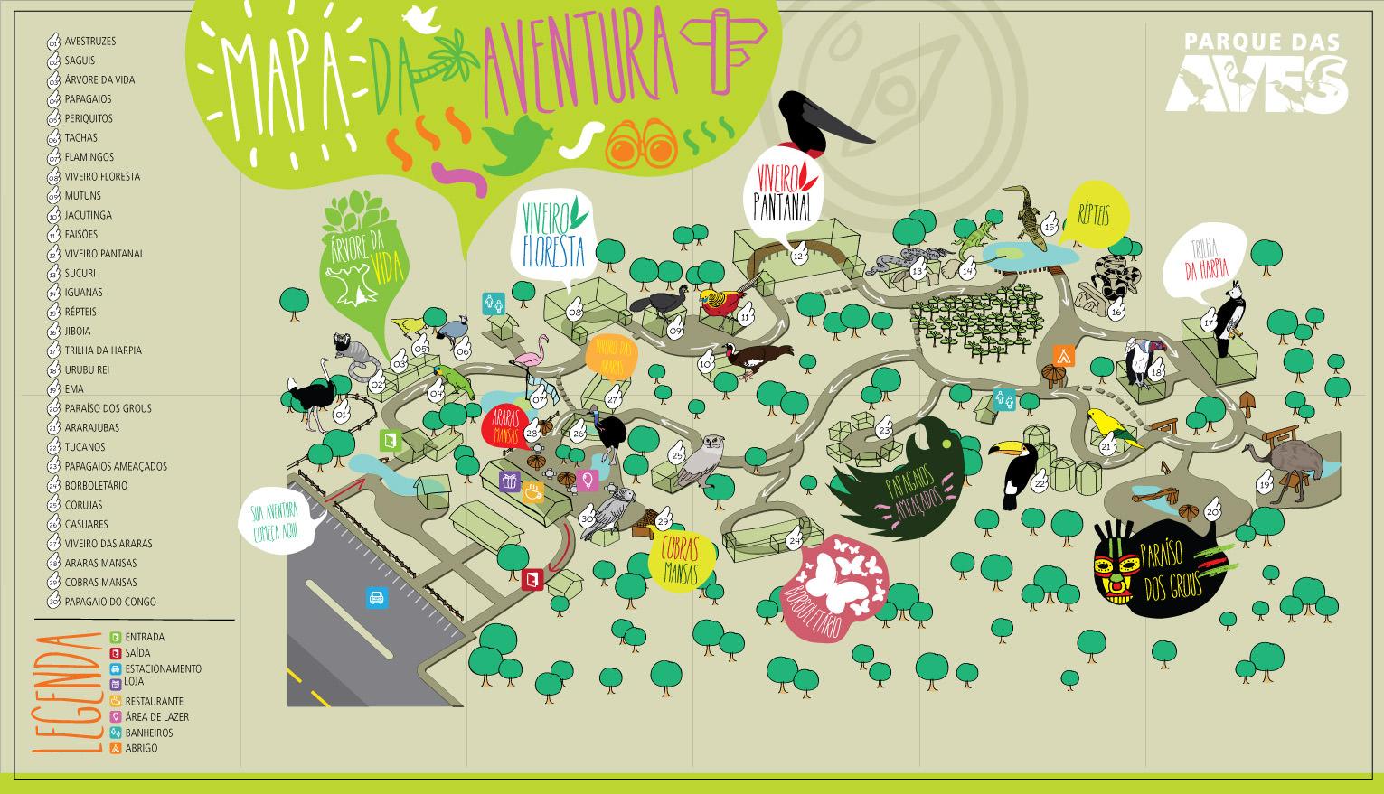 mapa parque das aves