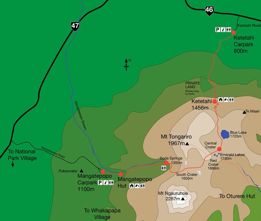 Map Tongariro Alpine Crossing