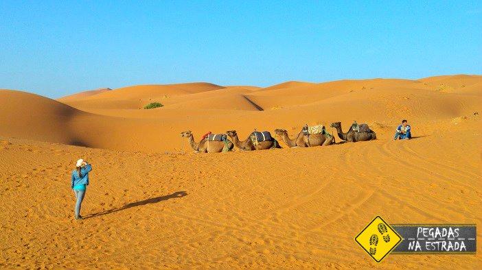caravana de dromedário Erg Chebbi deserto Saara