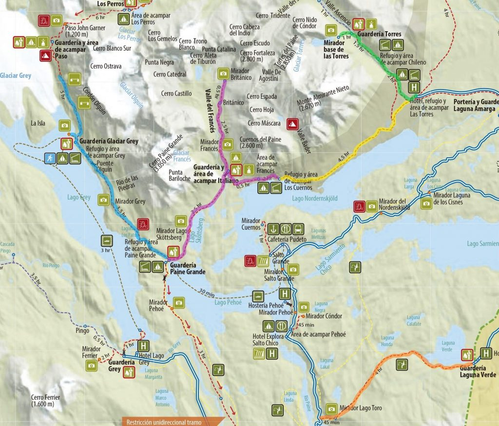 Circuito W Torres Del Paine Mapa : Mapa do circuito w pegadas na estrada